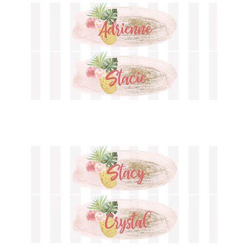 Pineapple water bottle labels