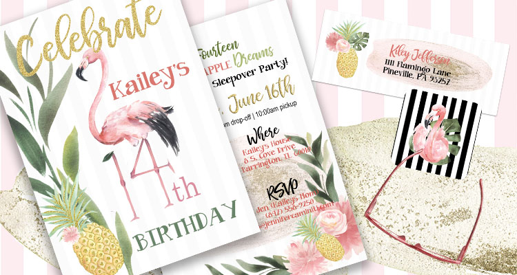 Flamingo Pineapple Invitations