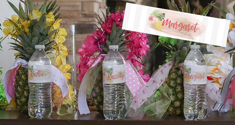 Luau water bottle labels