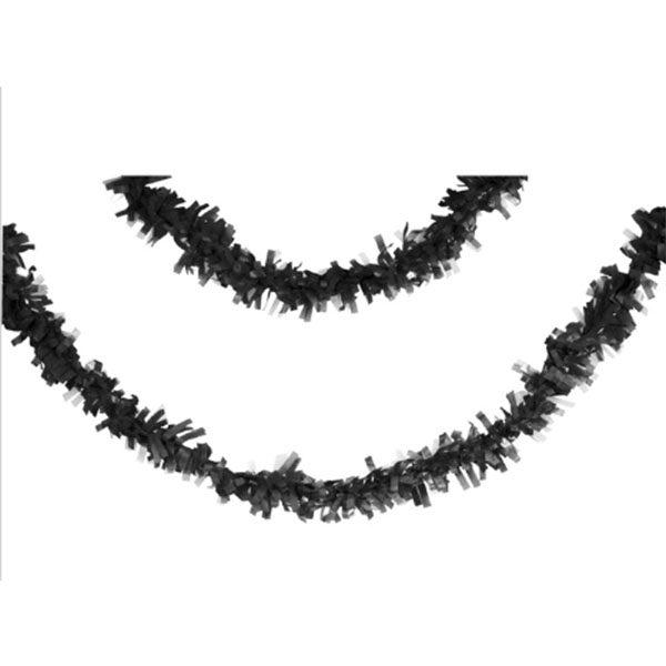 black tissue fringe garland