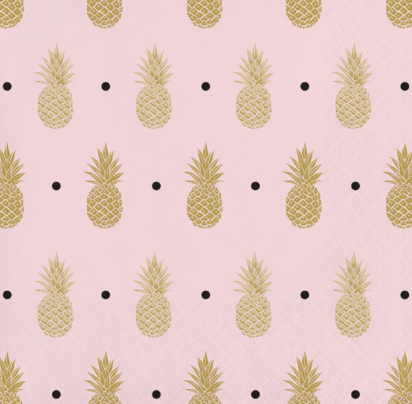 Pink and Gold Pineapple Beverage Napkin