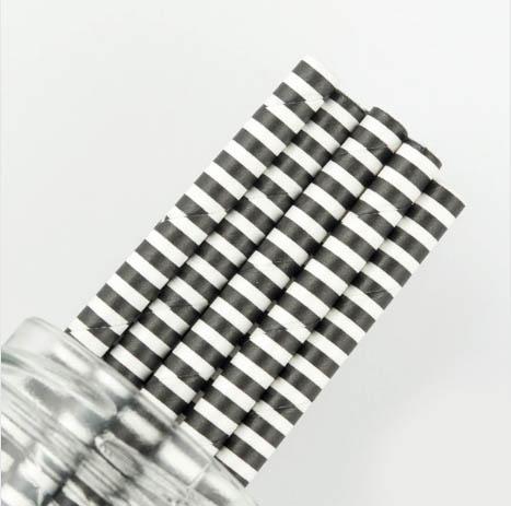 Black Pinstripe Paper Straw