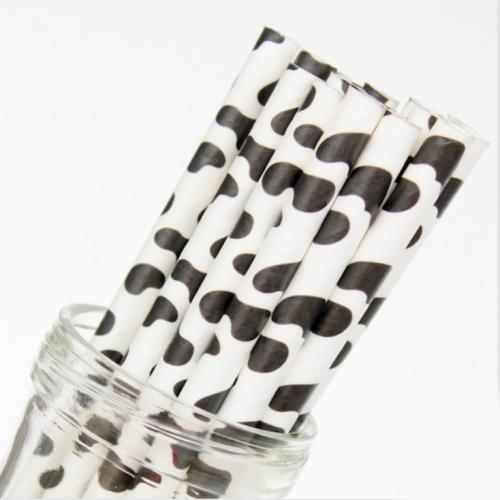 cow print paper straw