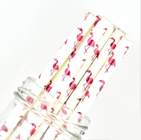 flamingo foil paper straws