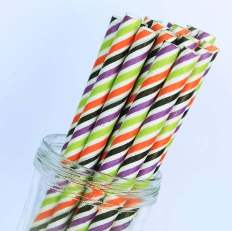 Halloween stripe paper straws