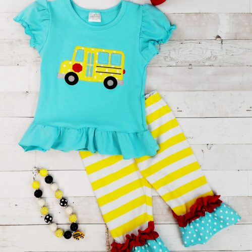 Yellow Bus and Turquoise Capri Set