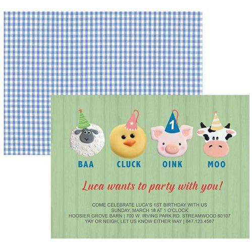 baby barnyard birthday invitation