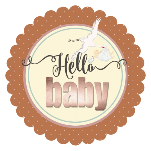 hello baby 3x3 stork sticker