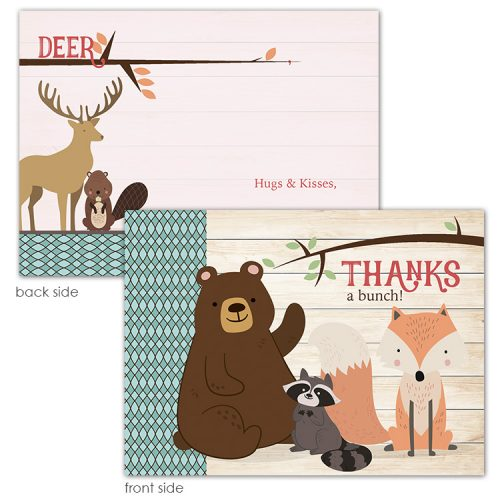 woodland animal thank you card