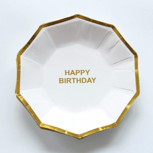 White Octagon Happy Birthday Plate with Gold Trim