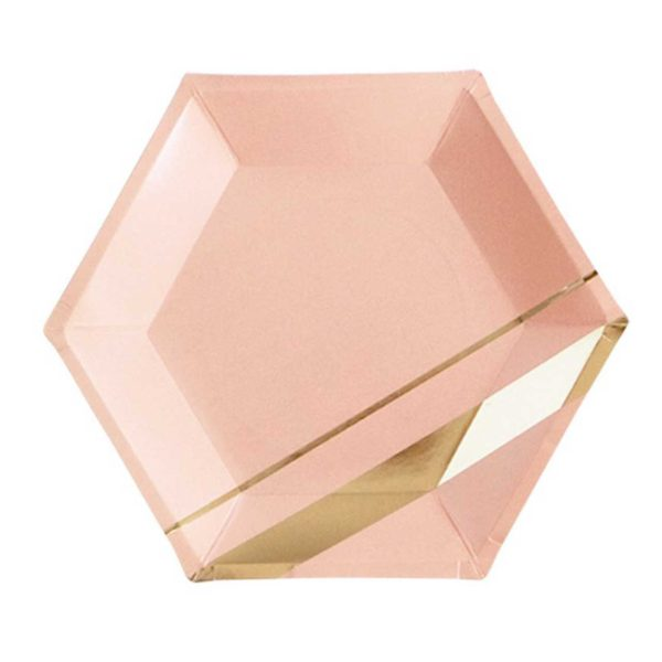 Pink Octagon plate With Gold Stripe