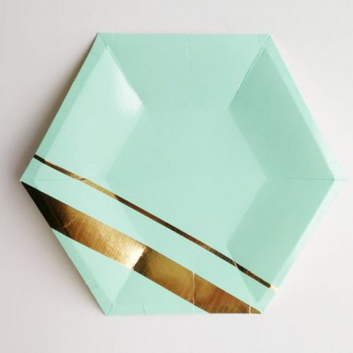 Teal Octagon plate with gold stripe