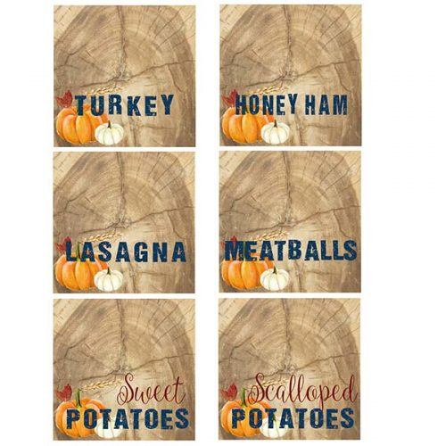 thanksgiving food tags