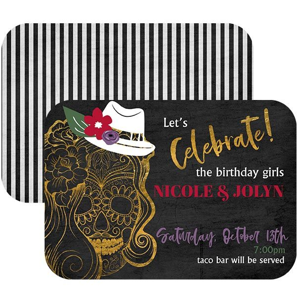 Top Hat Skull halloween invitation