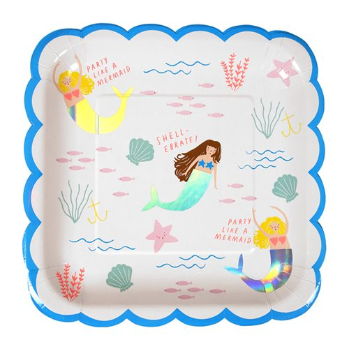 Mermaid scalloped paper plate