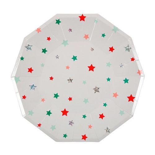 festive stars paper plate