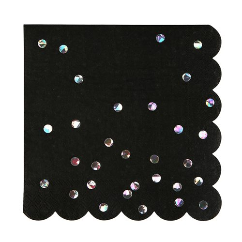 black holographic sparkle napkin