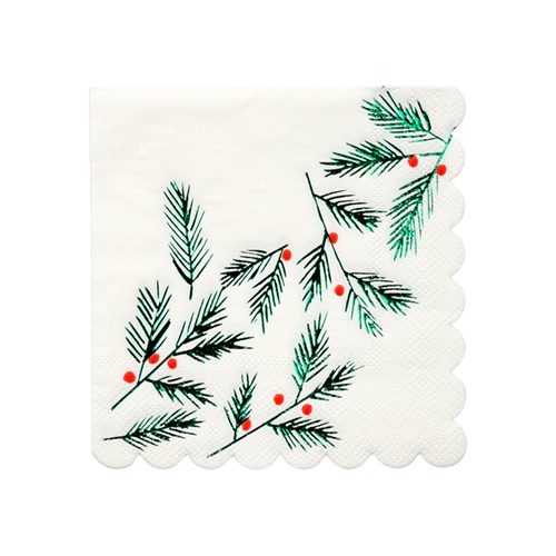 Festive leaves and berries napkin