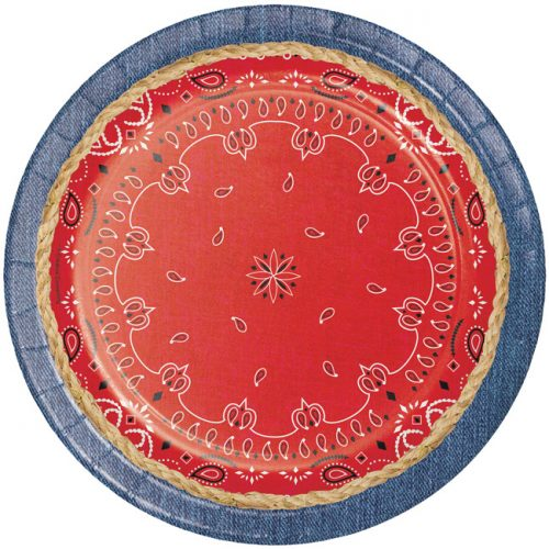 "9"" Round Bandana and Denim trim paper plate Set of 8"