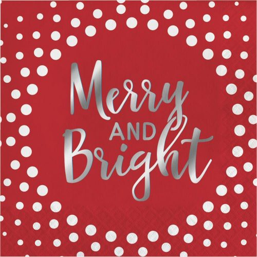merry and bright silver foil luncheon napkin