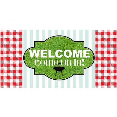 BBQ gingham pattern 5x10 welcome sign