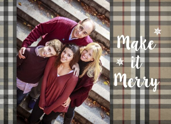 traditional plaid photo greeting card