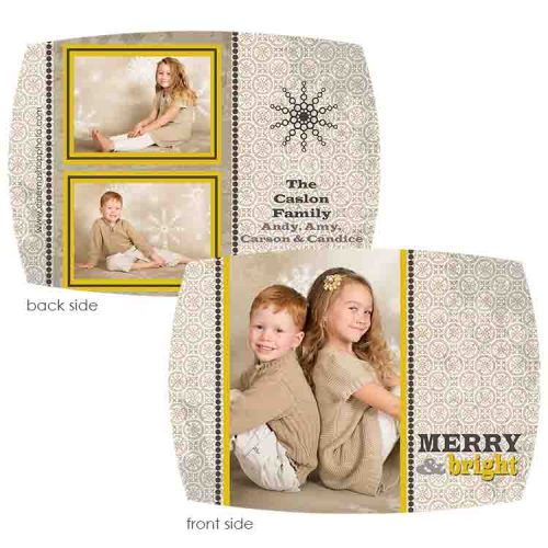 gold classic holiday photo greeting card
