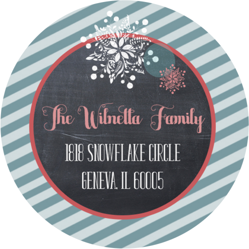 snowflake and chalk return address label