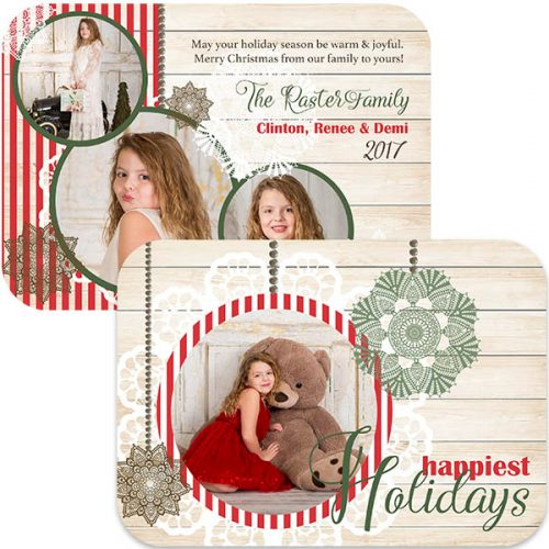 vintage lace and rustic wood holiday photo greeting card