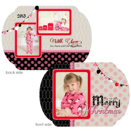 polka dot pink holiday greeting card