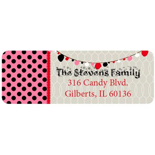 Holiday Polka Dot return address label.