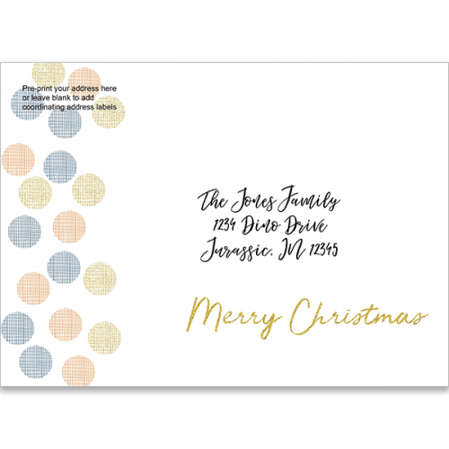 modern dots and gold font holiday printed envelope
