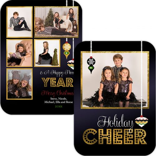 holiday marquee black and gold greeting card