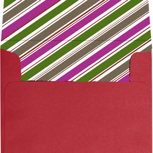 Berry colored stripe design self-stick envelope liner.