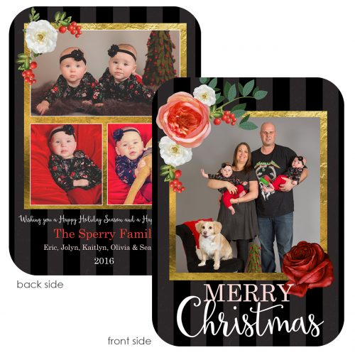 black and gold with winter florals holiday greeting card