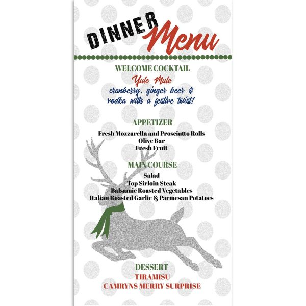 reindeer theme dinner menu card
