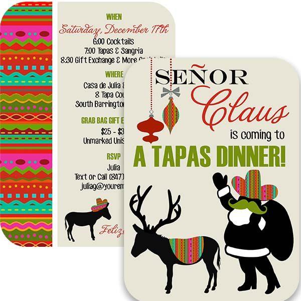 señor claus holiday dinner invitation