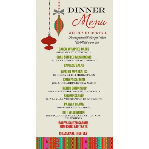 ornament printable holiday dinner menu