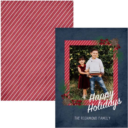 acorn and berry holiday photo greeting card