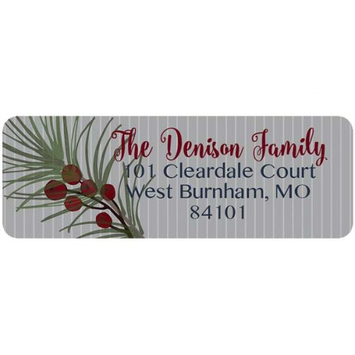 Berry and Fern Holiday return address label.