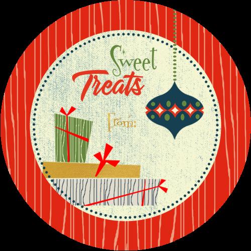 retro ornament and gift 3x3 treat sticker