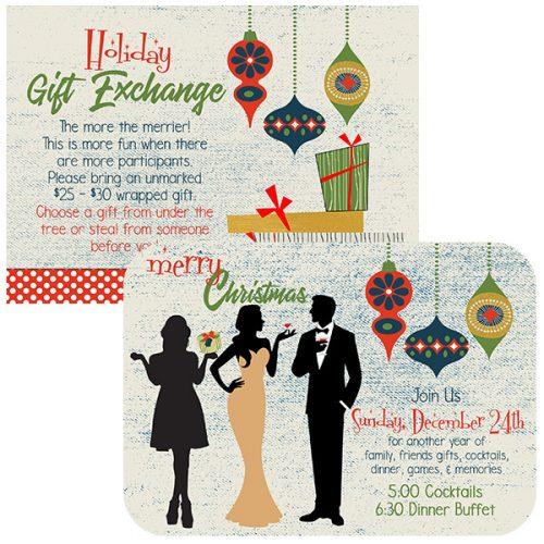 retro ornament holiday invitation