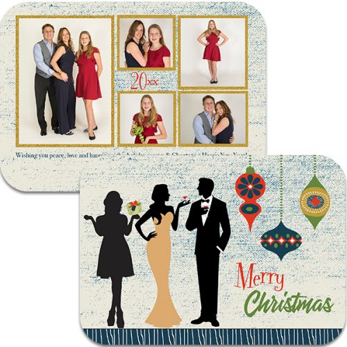swanky ornamnet holiday photo greeting card