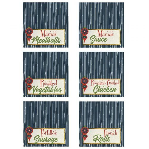 retro ornament holiday food tags