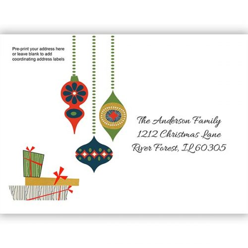 retro ornament holiday printed envelope