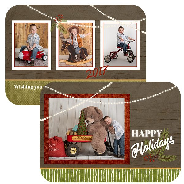 rustic holiday photo greeting card
