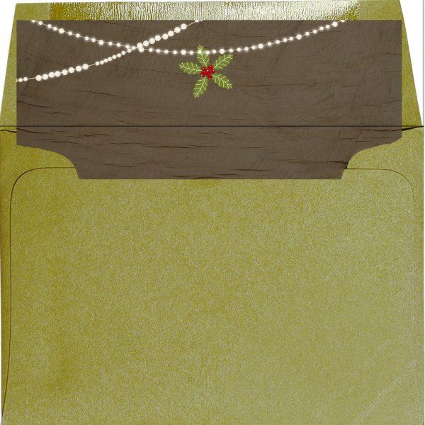 brown wood and string lights design self-stick envelope liner.