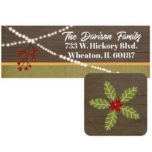 rustic wood and string lights holiday return address label and envelope seal