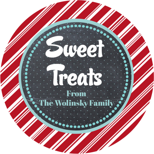 Candy cane stripe 3x3 round treat sticker