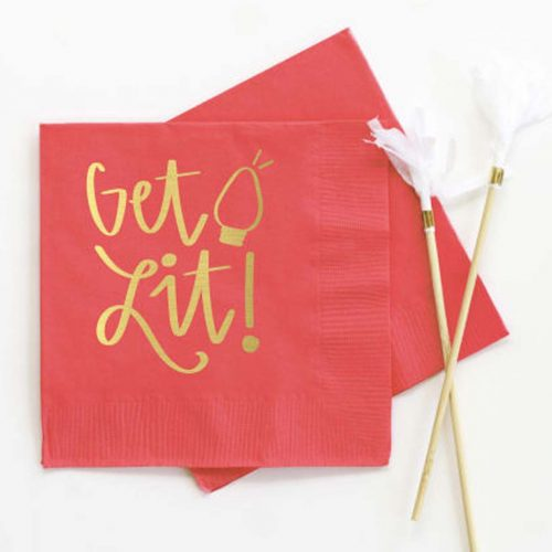 GetLit gold foil cocktail napkin